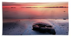 Beach Towel featuring the photograph Kintyre Rocky Sunset 5 by Grant Glendinning
