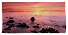Beach Towel featuring the photograph Kintyre Rocky Sunset by Grant Glendinning