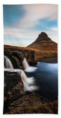 Kirkjufellsfoss Waterfalls Iceland Beach Towel