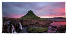 Kirkjufellsfoss Waterfalls Iceland Portrait Version Beach Towel