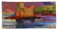 Kisimul Castle And Vatersay Beach Towel by Peter Graham