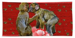 Kissing Chimpanzees Hearts Beach Towel