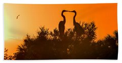 Kissing Herons  Beach Towel