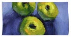 Beach Towel featuring the painting Kitchen Pears Still Life by Nancy Merkle