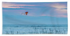 Kite In The Air At Sunset Beach Towel