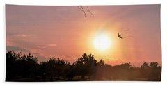 Kites Flying In Park Beach Towel