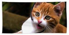 Kitten Portrait Player Beach Sheet by Odon Czintos