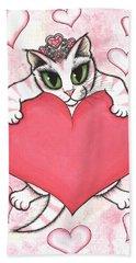 Kitten With Heart Beach Towel