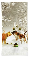 Kittens At Christmas Beach Towel