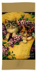 Kittens With Violets Victorian Print Beach Towel