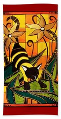 Beach Towel featuring the painting Kitty Bee - Cat Art By Dora Hathazi Mendes by Dora Hathazi Mendes