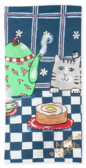 Kitty Cat Tea Time Beach Towel