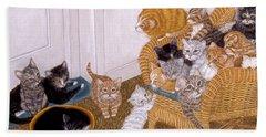 Beach Towel featuring the painting Kitty Litter II by Karen Zuk Rosenblatt