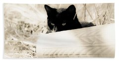 Kitty Stalks In Sepia Beach Towel