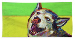 Beach Towel featuring the painting Kitty, The Husky by Robert Phelps