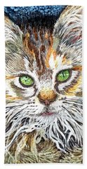 Kitty With Lovely Green Eyes Beach Towel