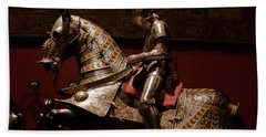 Knight And Horse In Armor Beach Towel