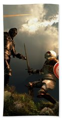 Knight Fight Beach Towel