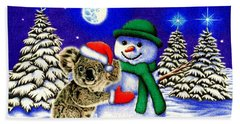 Koala With Snowman Beach Sheet by Remrov