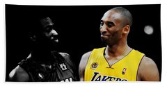 Kobe Bryant And Dwyane Wade 2 Beach Sheet by Brian Reaves