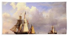 Koekkoek Hermanus Vessels At Anchor In Estuary With Fisherman Beach Sheet