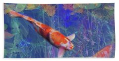 Koi Fish Pond Japanese Tea Garden  Beach Sheet by Julianne Ososke