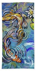 Beach Towel featuring the painting Koi Fish by Tim Gilliland