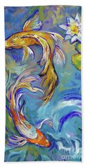 Beach Towel featuring the painting Koi Fish2 by Tim Gilliland