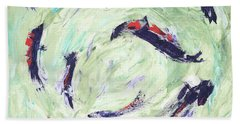 Beach Towel featuring the painting Koi Joy by Kathryn Riley Parker