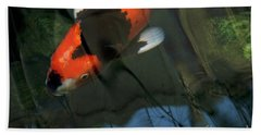 Koi Reflection Beach Towel