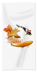 Koi With Azalea Ripples Beach Towel