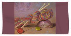 Beach Towel featuring the painting Koigu Yarn With Buttons by Nancy Lee Moran