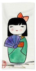 Kokeshi Doll Beach Towel