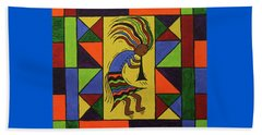 Beach Towel featuring the painting Kokopelli Dance by Susie WEBER