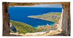 Komiza Bay Aerial View Through Stone Window Beach Sheet by Brch Photography