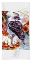 Kookaburra In Red Flowering Gum Beach Towel