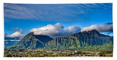 Beach Towel featuring the photograph Koolau And Pali Lookout From Kanohe by Dan McManus