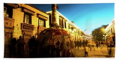 Kora At Night At Jokhang Temple Lhasa Tibet Artmif.lv Beach Towel