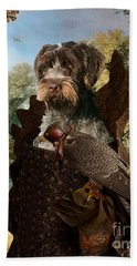 Korthals Pointing Griffon Art Canvas Print - The Hunters And Lady Falconer Beach Towel