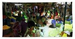 Beach Towel featuring the photograph Koyambedu Flower Market Stalls by Mike Reid