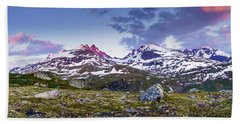 Beach Towel featuring the photograph Crimson Peaks by Dmytro Korol
