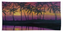 Beach Towel featuring the painting Kristine's Sunset by Amelie Simmons