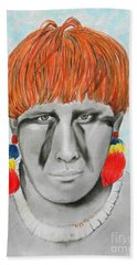 Kuikuro From Brazil -- Portrait Of South American Tribal Man Beach Sheet