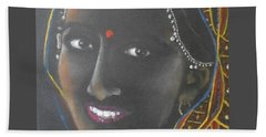 Kumkuma -- Close-up Portrait Of Indian Woman Beach Sheet