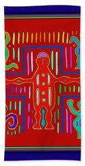 Beach Towel featuring the digital art Kuna Indian Mola Crucifix by Vagabond Folk Art - Virginia Vivier