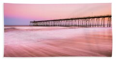 Beach Towel featuring the photograph Kure Beach Fishing Pier At Sunset by Ranjay Mitra