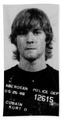Kurt Cobain Mug Shot Vertical Black And Gray Grey Beach Sheet