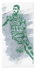 Kyrie Irving Boston Celtics Water Color Art 3 Beach Towel