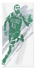 Kyrie Irving Boston Celtics Water Color Art 4 Beach Towel