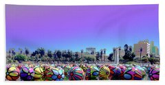 Beach Towel featuring the photograph Los Angeles Glows In The Spheres Of Macarthur Park by Lorraine Devon Wilke